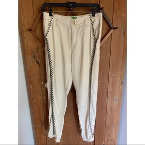 Anthropologie cream embroidered stripe joggers